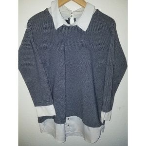 ANN TAYLOR layered collared sweater top